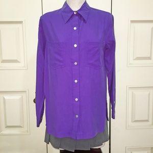 LizDem Liz Claiborne Purple 100% Silk Blouse